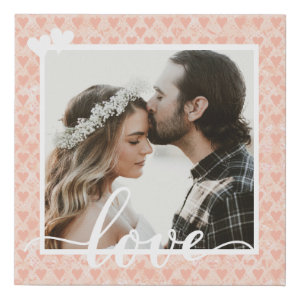 Add Your Own Custom Photo Love Hearts in Rose Gold Faux Canvas Print