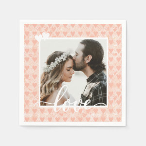 Add Your Own Custom Photo Love Hearts in Rose Gold Napkin