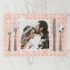 Add Your Own Custom Photo Love Hearts in Rose Gold Paper Placemat