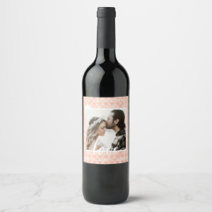 Add Your Own Custom Photo Love Hearts in Rose Gold Wine Label