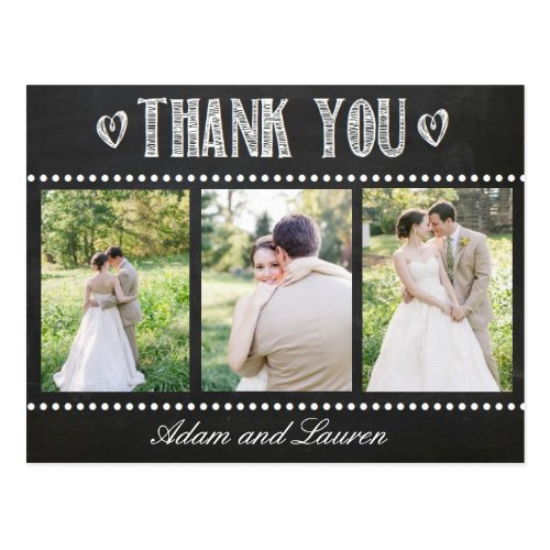 Add Your Own Photos Chalkboard Thank You Postcard