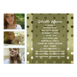 Add Your Picture: Gold Sparkle Party Invitation