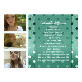 Add Your Picture:Green Sparkle Party Invitation