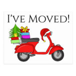 Address Announcement Classic Christmas Scooter Postcard