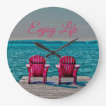 Adirondack Chairs Rustic Enjoy Life At The Cottage Large Clock