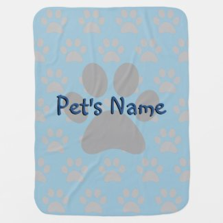 Adorable Blue Paw Print Male Custom Pet Blanket Receiving Blanket