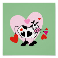 Adorable Cow Hearts Poster