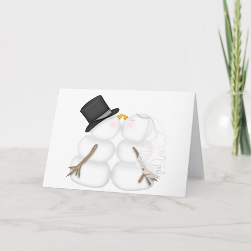 Adorable Kissing Snowman Couple Holiday Card