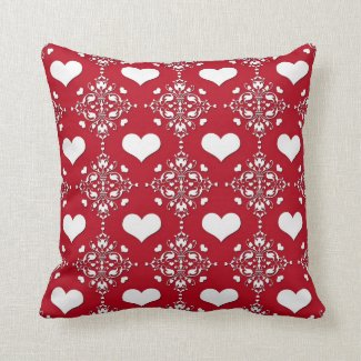 Adorable Red and White Damask with Hearts Throw Pillows