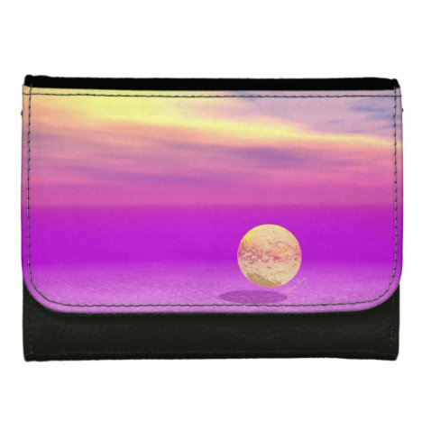 Adrift, Abstract Gold Violet Ocean Wallet For Women