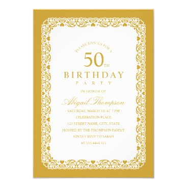 Adult 50th Birthday Party Elegant Simple & Classy Invitation