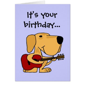 AE- Dog Playing Guitar Happy Birthday Card