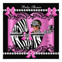 African American Baby Shower Cute Girl Pink Zebra Invitation