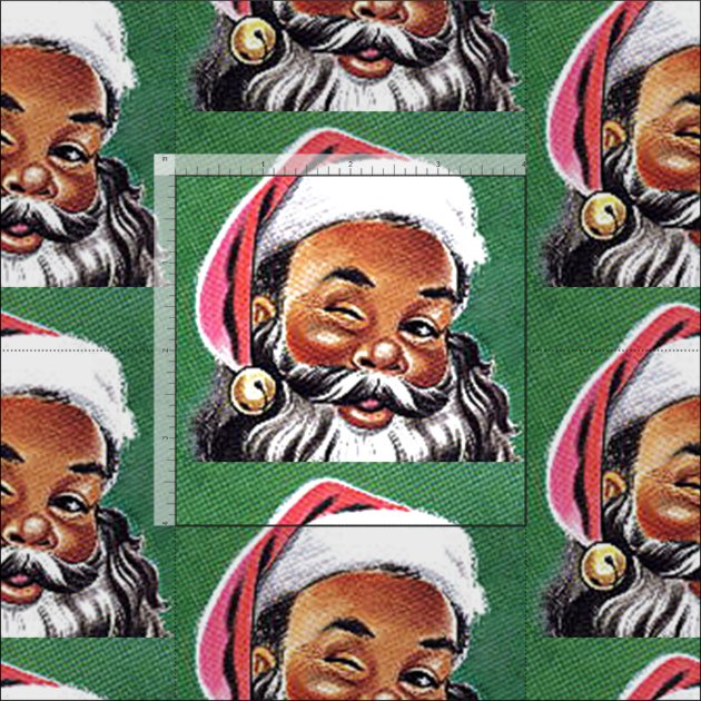 African American Black Santa Claus Christmas Fabric