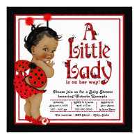 African American Ladybug Baby Shower Card