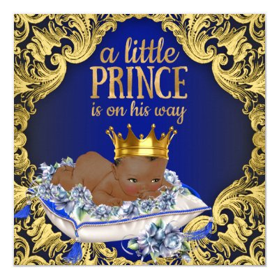 African American Royal Prince Baby Shower invite