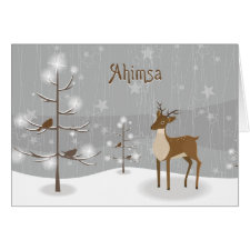 Ahimsa Holiday Reindeer Greeting Card