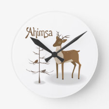 Ahimsa Holiday Reindeer Round Clocks