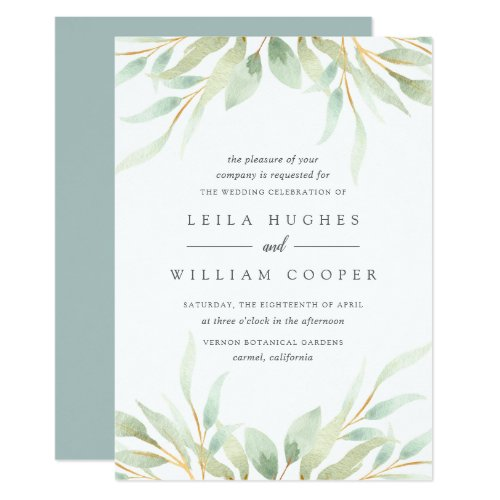 Airy Botanical Wedding Invitation