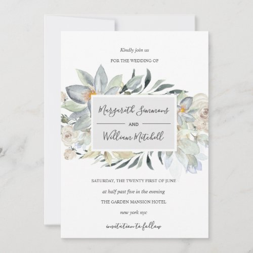 Airy meadow soft floral frame Watercolor Save The Date