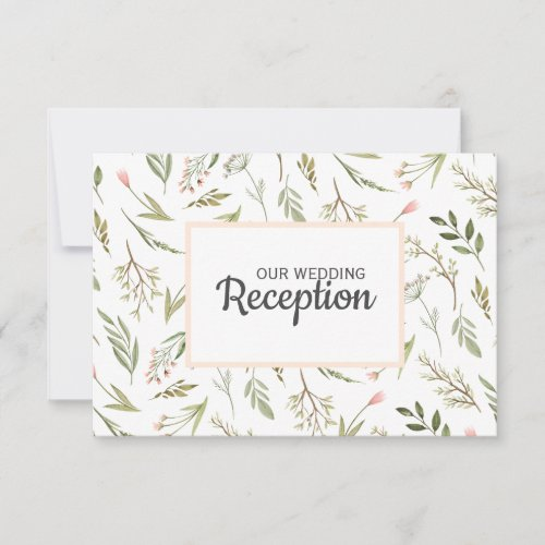 Airy pink wild meadow flower WEDDING RECEPTION RSVP Card
