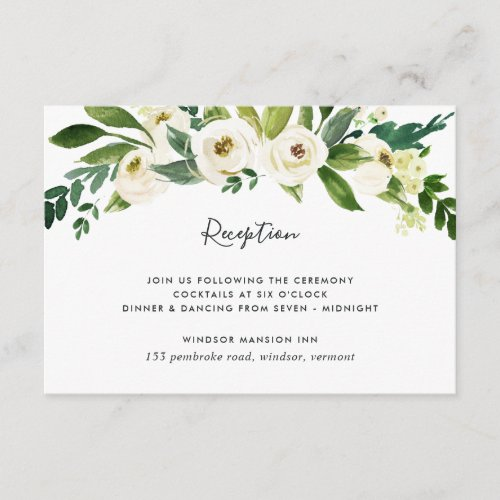 Alabaster Floral Reception Card