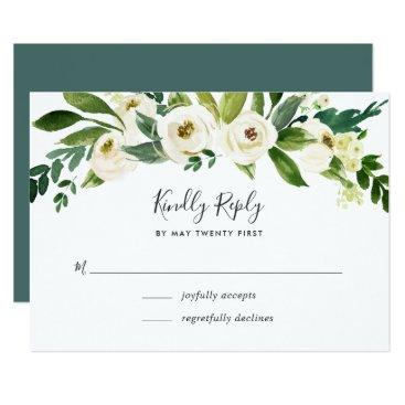 Alabaster Floral RSVP Card