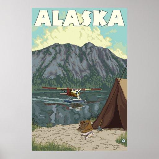 Alaska Bush Plane And Fishing Poster Zazzle