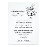 Alice In Wonderland #2 Black White Modern Wedding Card
