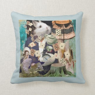 Alice in Wonderland collage throw pillows and cushions
