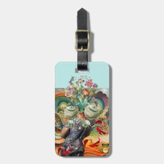 Alice in Wonderland collage, add name and contact Luggage Tag