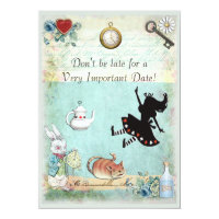 Alice in Wonderland Don't Be Late Bridal Shower Card