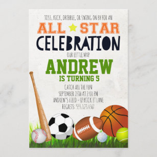 sports themed invitations zazzle