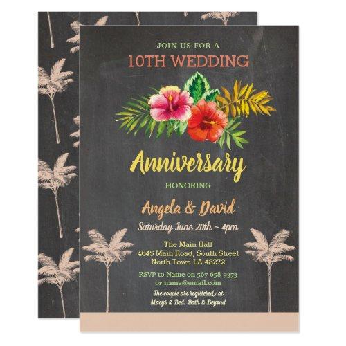 Aloha Wedding Anniversary Tropical Chalk Invite