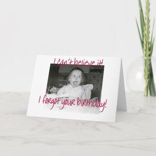 Amazed Baby Happy Belated Birthday card