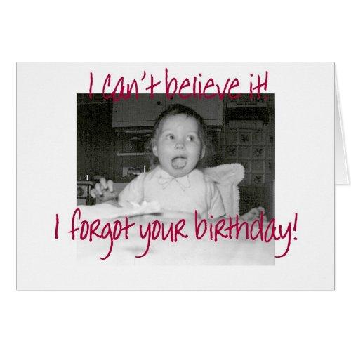 Amazed Baby Happy Belated Birthday Greeting Card