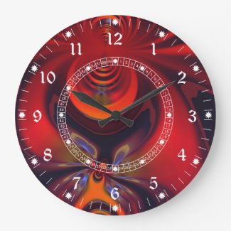 Amber Goddess – Red and Gold Delight Round Wallclock