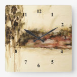 Ambiguous Abstract Landscape Art Drips Painting Square Wall Clock