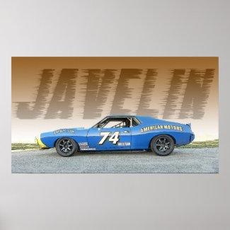 AMC Javelin Road Race Car Poster