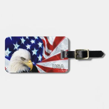 American flag and eagle patriotic luggage tags