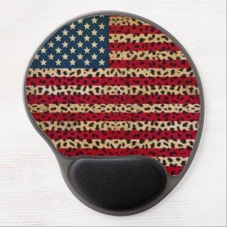 American Flag in Leopard Spot Print Design Gel Mouse Pad
