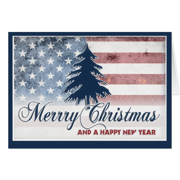 American Flag Merry Christmas Card Zazzle