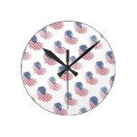 American Flag Rustic Heart Print Round Clock
