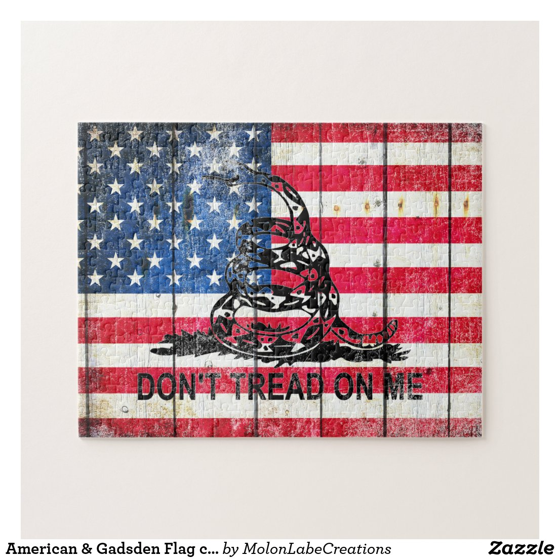 American & Gadsden Flag composition on wood print Jigsaw Puzzle
