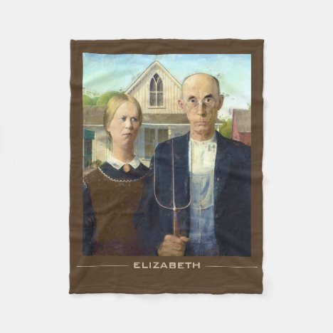American Gothic Fine Art Oil Painting Fleece Blanket