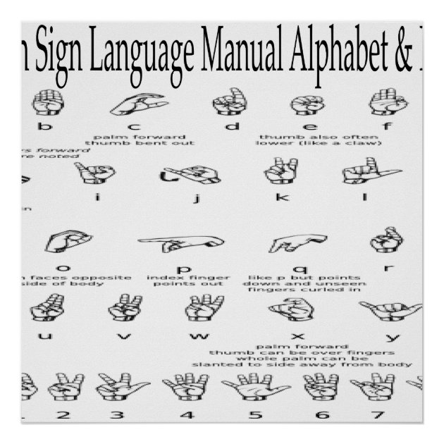 Asl Alphabet And Numbers
