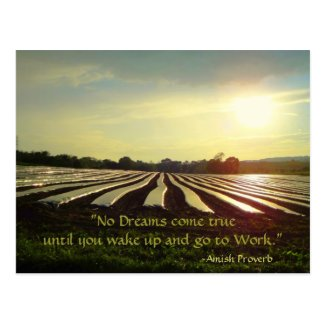 Amish Postcard. Proverb. Dreams. Work. Postcard
