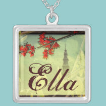 An Elegant Name Pendant with Red Flowers necklaces