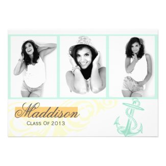 Anchor Photo Graduation Announcement Flat Card