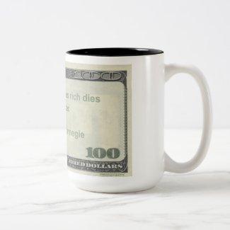 Andrew Carnegie Quote Mug: Die Rich & Discgraced Two-Tone Coffee Mug